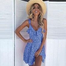 Summer Sleeveless Beach Dress Women Sexy V-neck Dot Spaghetti Strap Casual Sun