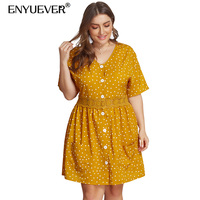 Enyuever Polka Dot Dress Plus Size Summer Casual Women Clothes Button Short Sleeve Robe Vintage Party Dress With Pockets Vestido