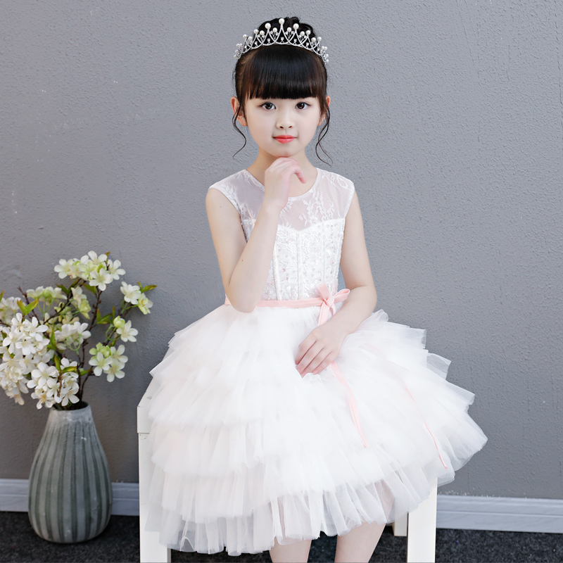 New Children Girls Elegant Sweet White Color Birthday Wedding Party Cake-layers Princess Lace Dress Baby Kids Pageant Dress 2018 new children girls elegant pure white color birthday wedding party princess lace flowers dress baby kids model show dress