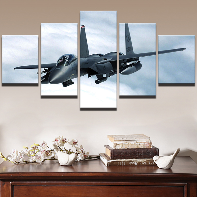 Modern HD Framework Home Decoration Canvas 5 Panel Air Combat Fighter Painting Poster Wall Art Living Room Printed Pictures