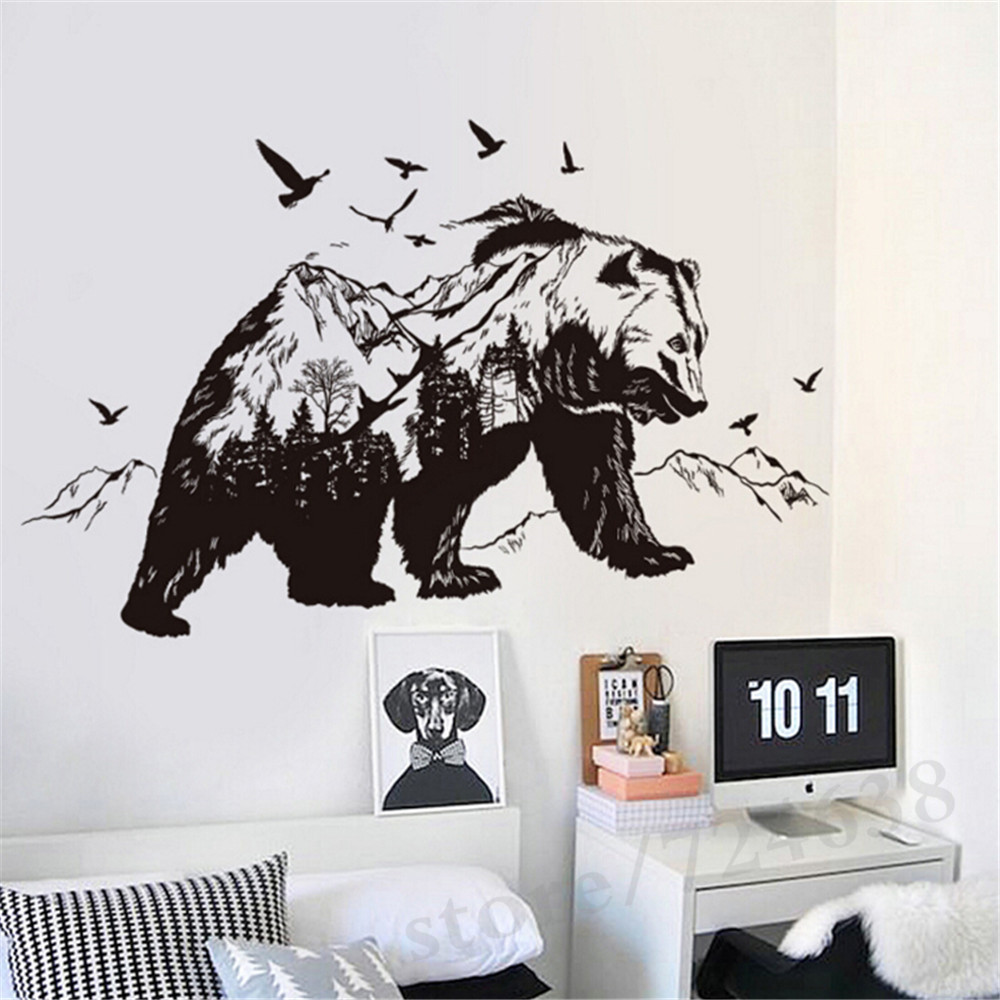 Mountain Black Bear Birds Large Wall Stickers Home Decor Living Room ...