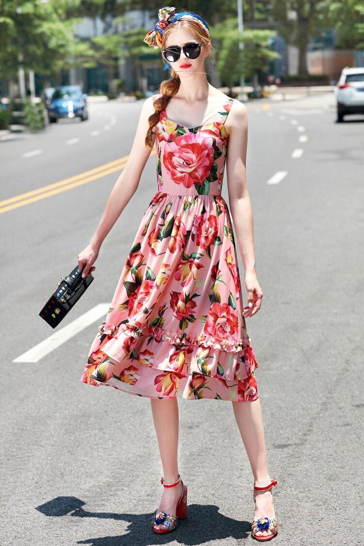 Floral Rose Personnalisé Nouvelle Sans Mode Rouge A Imprimé Femmes Robe ligne longueur Bretelles Robes Manches Dames Ruches 2017 Genou wqw01Xr