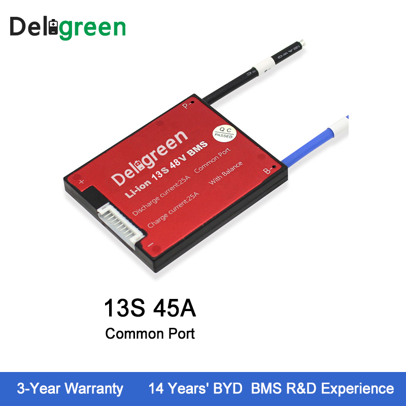 цена на Deligreen 13S 45A 48V PCM/PCB/BMS for lithium battery pack 18650 Li-Po LiNCM Battery Pack