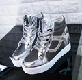 10 .. 2016 manera de la marea Coreana brillante superficie de la piel de alta ayuda aumentó suela gruesa mollete con zapatillas mujer zapatos
