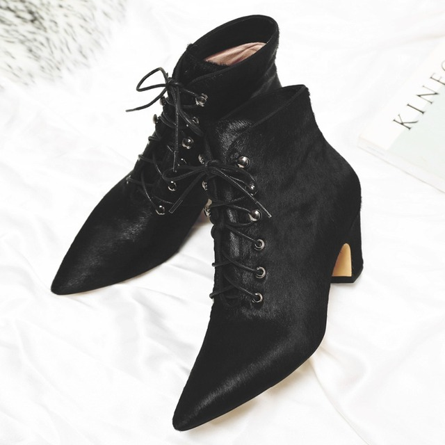 973a0b4b09 Women's horsehair leopard autumn ankle boots kitten heel pointed toe short  booties warm plush female comfortable footwear shoes