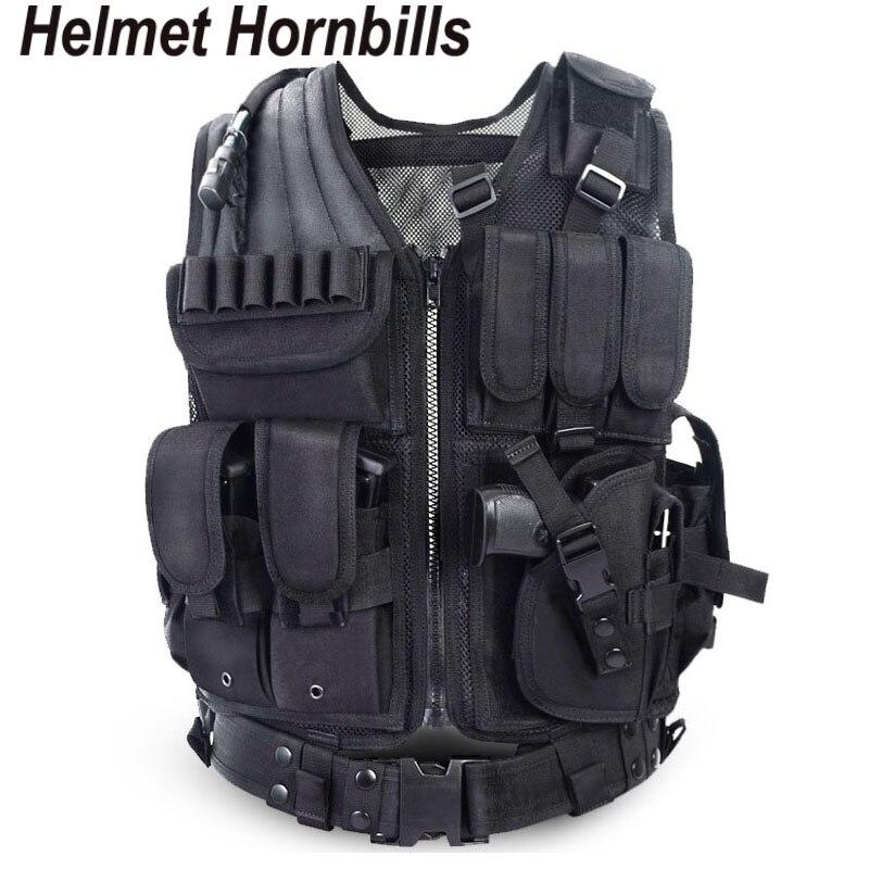 Casque hornfactures Police tactique gilet extérieur Camouflage militaire tenue de sport chasse gilet armée Swat Molle gilet noir