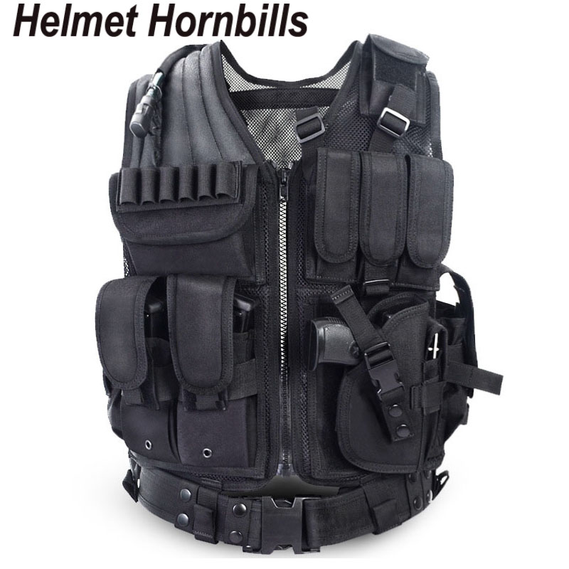 Helmet Hornbills Police Tactical Vest Outdoor Camouflage Military Sports Wear Hunting Vest Army Swat Molle Vest Black men swat tactical military vest for sportman outdoor hunting hiking camping black vest