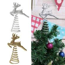 Christmas Tree Top Running Deer Flowers with Spring Xmas Decor Accessories Ornament For new Year decoration Wedding Party Decor(China)