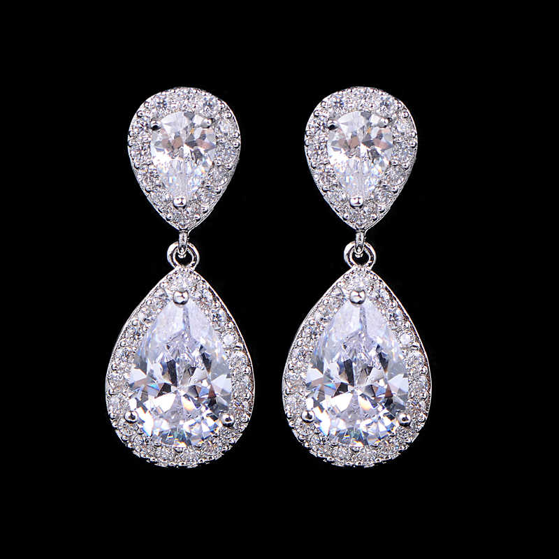 UILZ Zircons Classic Water Drop Shaped Cubic Zirconia Crystal Bridal Earrings Wedding Jewelry For Brides Bridesmaid UE091