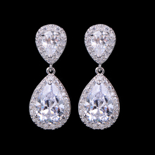 UILZ Zircons Classic Water Drop Shaped Cubic Zirconia Crystal Bridal Earrings Wedding Jewelry For Brides Bridesmaid UE091 gulicx zircons elegant drop aaa cubic zirconia long big crystal bridal earring for wedding jewelry