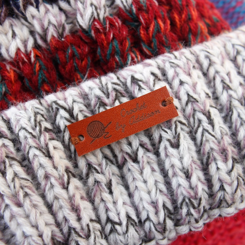 Custom Leather Label - Personalised Name Label - Personalised Initial Tag - Knit Accessories,  32 Pc (PB079)