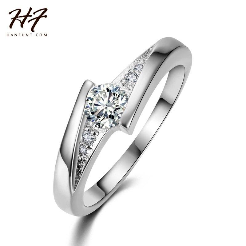 Classical White Gold Plated Created Diamond Fashion