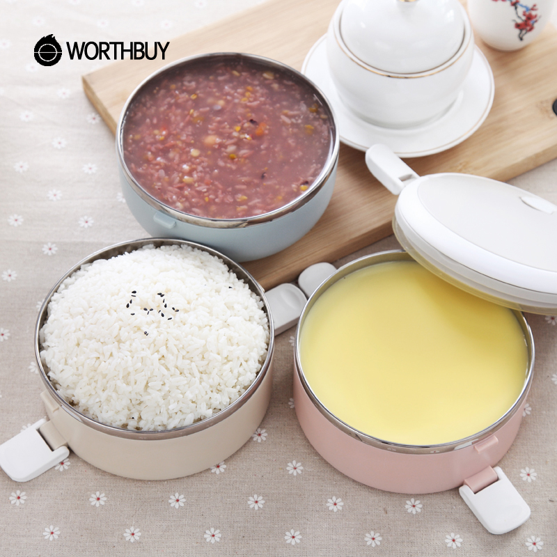 WORTHBUY Gradient Color Japanese Lunch Box Thermal For Food Bento Box Stainless Steel LunchBox For Kids Portable Picnic School