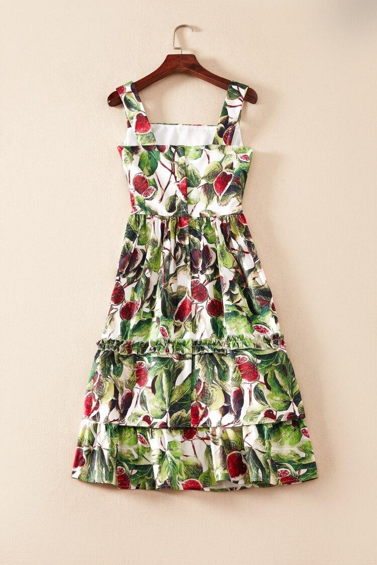 Vestido Correa Mujeres De 2xl Verano Plus Calidad Tamaño Vestidos Impreso Alta Diseñador Truevoker La Fruta Espagueti Las 1ABCqwY6x5