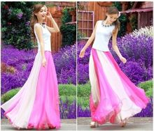 2018 Summer Style Bicolor Look Long Beach Skirts Chiffon Bohemia Fashion Womens Ladies Pleated skirts Laipelar