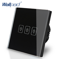3 Gang 1 Way EU Touch Switch 110V 240V Wallpad Black Crystal Glass Electric Touch Wall