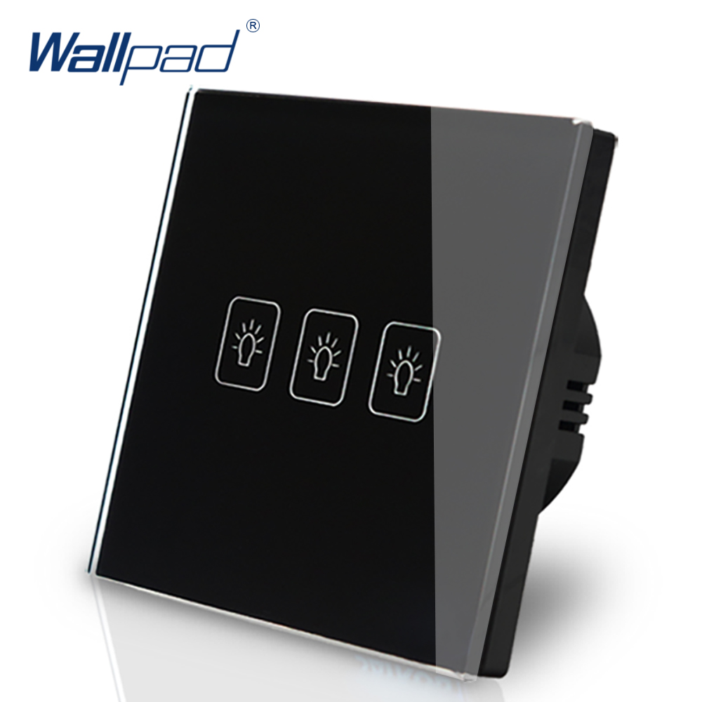 3 Gang 1 Way EU Touch Switch 110V-240V Wallpad Black Crystal Glass Electric Touch Wall Switch Button EU 3 Gang Free Shipping smart home eu touch switch wireless remote control wall touch switch 3 gang 1 way white crystal glass panel waterproof power