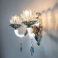 Europejski lampy kryształowe ściany ścienne jadalnia światła sypialnia łazienka światło korytarz schody lampa led ze stopu kryształowe kinkiety ścienne w Lampy ścienne od Lampy i oświetlenie na