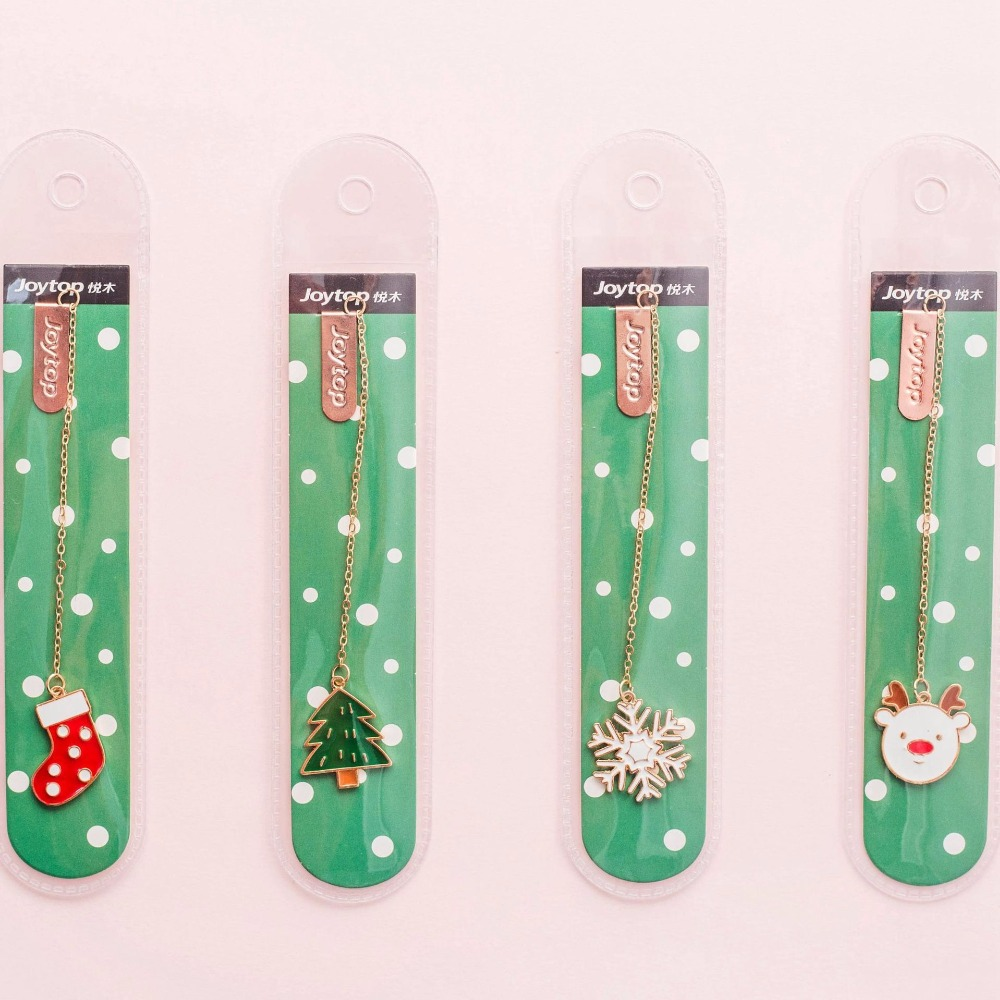 4 Pcs/Set Kawaii Merry Christmas Metal Pendant Bookmark Book Holder Message Card Gift Stationery