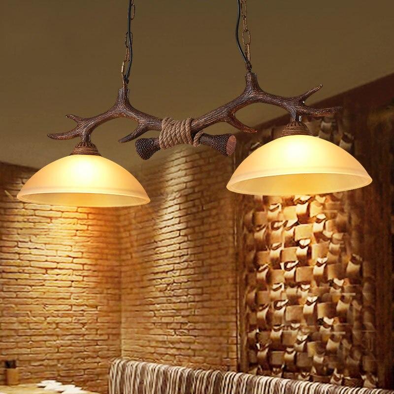 Винтаж чердак подвесной светильник 2 огни рога Винтаж висит смолы промышленный подвесной светильник для Обеденная ресторан-бар Кухня