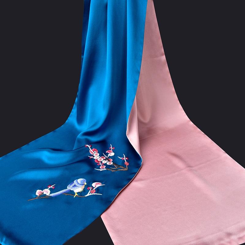 100% чистый Шелковый шарф роскошный 2019 Ханчжоу 16 момме шелковые шали и палантины для женщин ручная вышивка натуральный шелк шарфы - 6