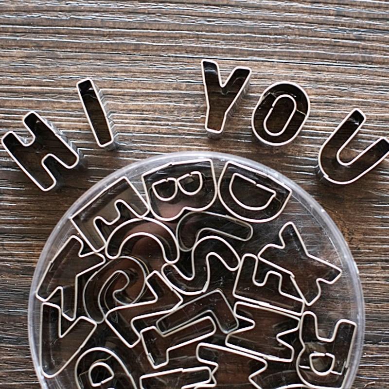 26 편지 알파벳 스테인레스 스틸 비스킷 금형 쿠키 커터 과자 셰이퍼 금형 베이킹 DIY 퐁당 웨딩 장식 도구
