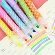 6 pcs/lot Cute Dot Stripe Highlighters Kawaii colors Drawing Marker Pens For Kids gift School Supplies
