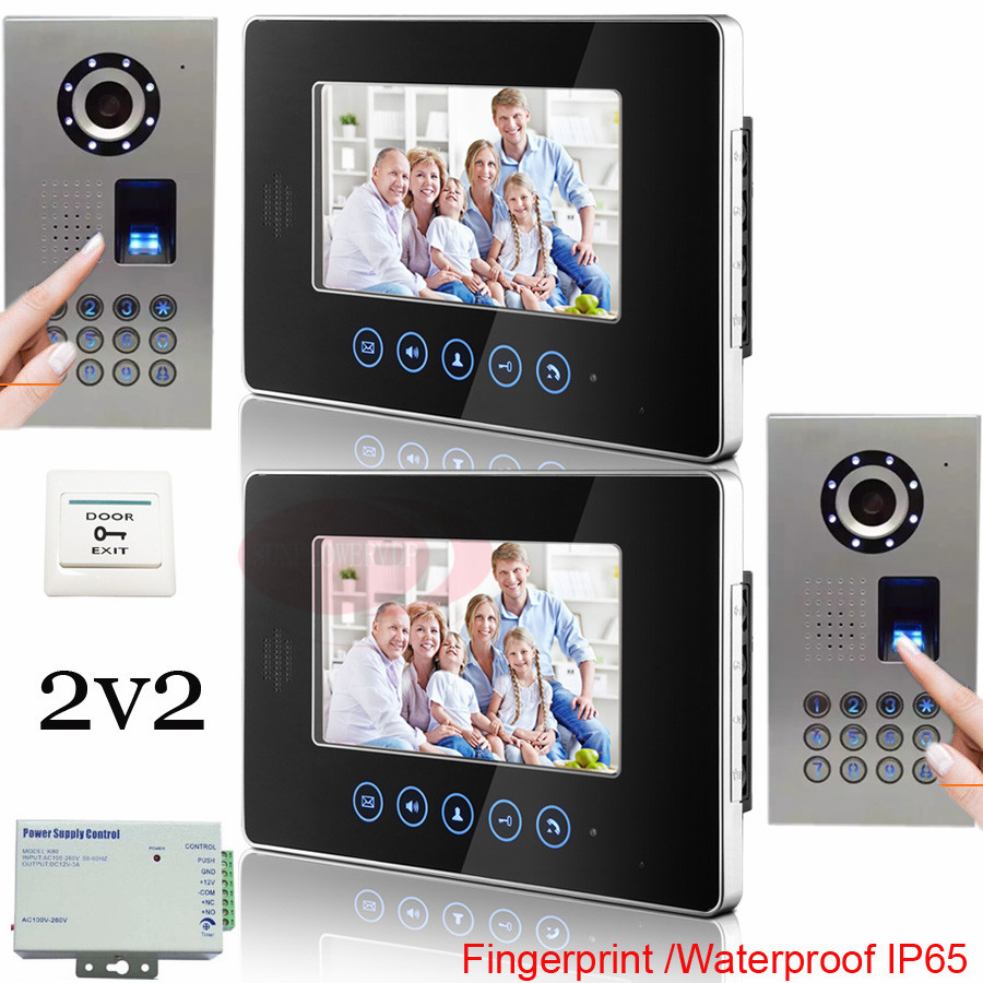 2v2 Fingerprint Outdoor Unit Waterproof(IP65) Home 7 Inch TFT Touch Screen Color Video Door Phone Night Vision Intercom System original 7 inch touch screen dahua dh vth1550ch color monitor with to2000a outdoor ip metal villa outdoor video intercom system