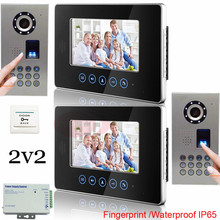 Buy 2v2 Fingerprint Outdoor Unit Waterproof(IP65) Home 7 Inch TFT Touch Screen Color Video Door Phone Night Vision Intercom System