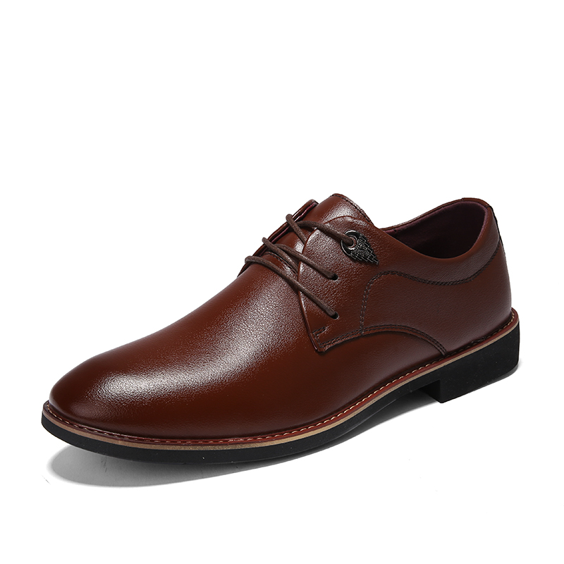TOSJC New Style Man Leather Business Shoes Casual Dress Shoes Lace Up Point Toe Lace Up Black Color Breathable Sort Material