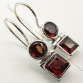 Silver Genuine GARNET Earrings 1 inches SEMI PRECIOUS Gem