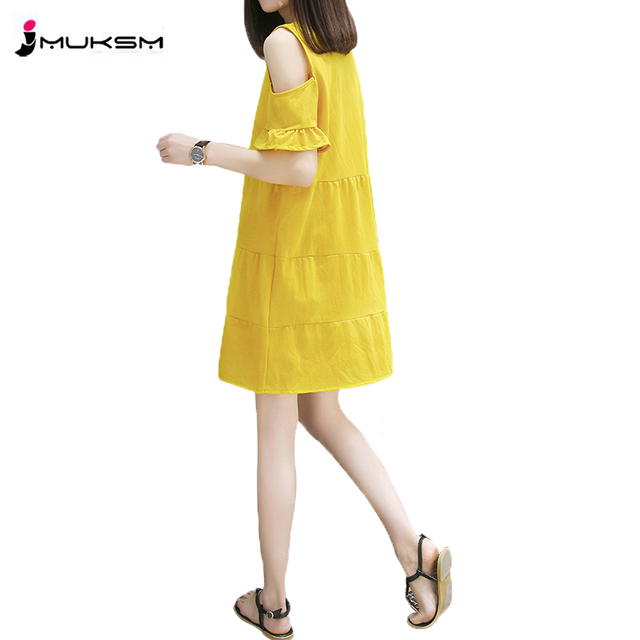e3b39ac3f08d Dress Female Summer Strapless Long 2018 New Fashion Korean Loose Large Size  Petal Sleeve Knee Length