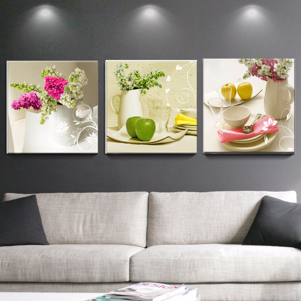 3 pcs canvas paintings for kitchen fruit wall decor modern for Modern kitchen wall decor