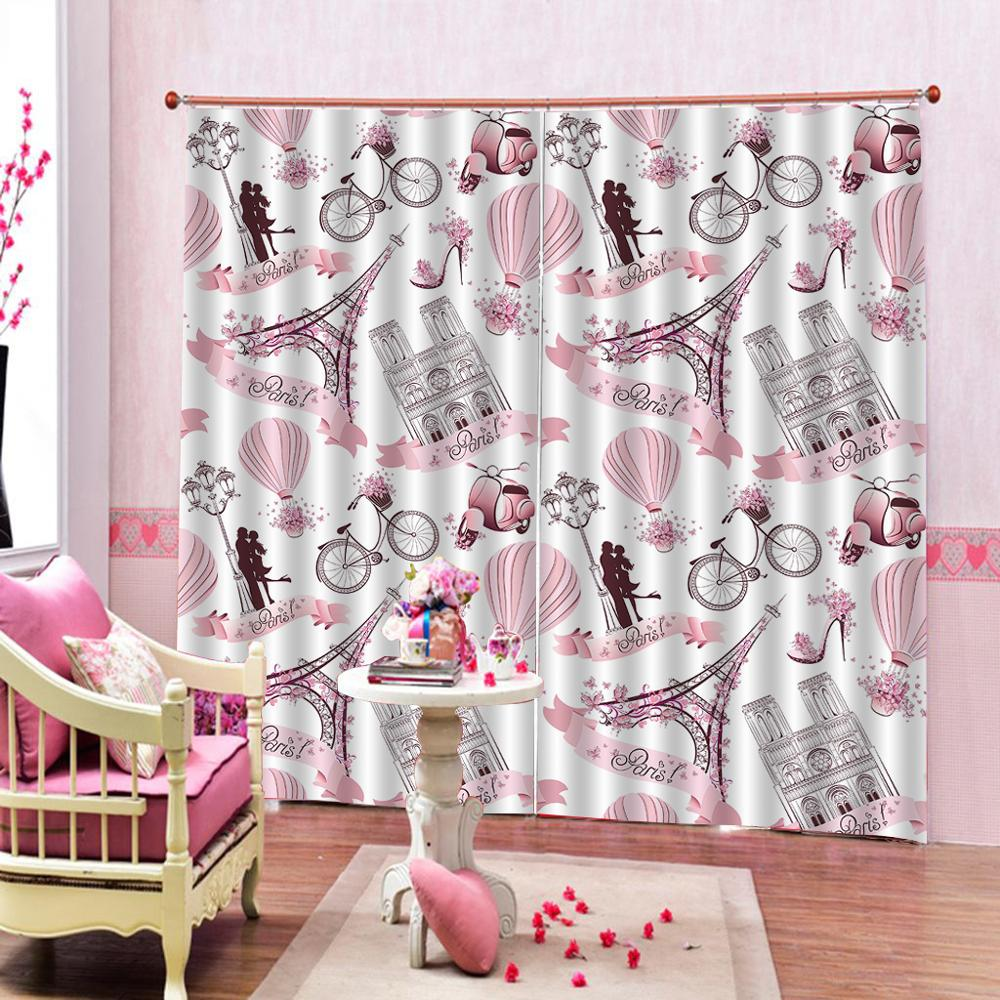 romantic curtains tower Luxury Blackout 3D Window Curtains For Living Room Bedroom Drapes cortinas Rideaux Customized size