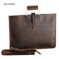 Joy Corner Genuine Leather File Document Bag Documents Organizer Storage With Inner Pocket Office Business Supplies