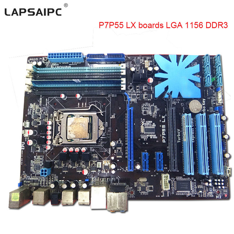 lapsaipc P7P55 LX motherboard P7H55 LGA1156 P55 mainboard for i3 i5 i7 cpu 16GB USB2.0 Desktop mother board LGA 1156 DDR3 boards gigabyte ga p55 ud3r original used desktop motherboard p55 ud3r p55 lga 1156 i5 i7 ddr3 16g sata2 atx