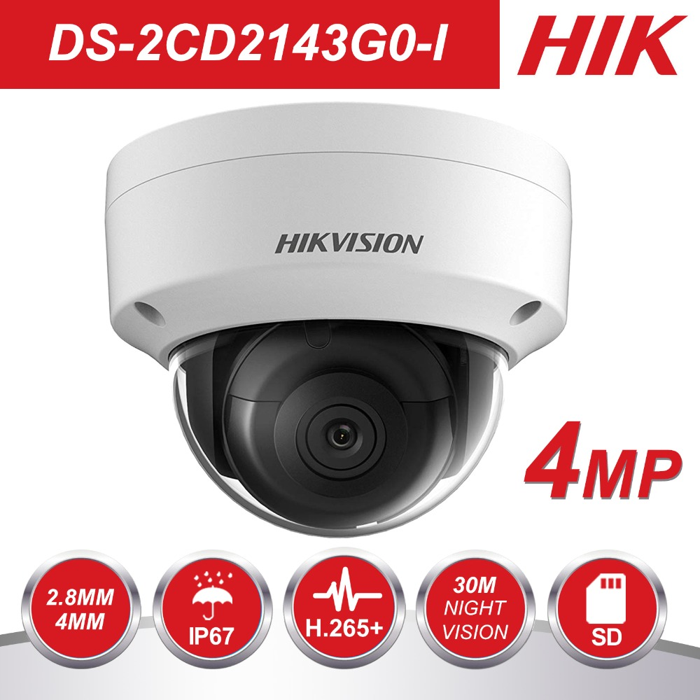 HIK Dôme CCTV Caméra IP POE DS-2CD2143G0-I 4MP CMOS IR Réseau de Sécurité Nuit Version Caméra H.265 avec SD emplacement pour cartes IP 67