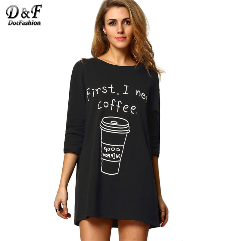 Dotfashion Black Round Neck Long Sleeve Coffee Print Long Tees Women Casual Tops 2016 New Style