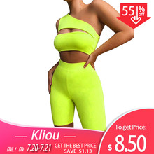 Kliou 2019 summer women neon color two pieces set off shoulder hollow out crop top elastic high waist shorts outfit tracksuit(China)