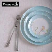 WOURMTH Cute ceramic dinner plate 6/8/10inch cartoon children dish 3PC Steak plate Housewear & Furnishings