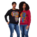 2017 Autumn Women African Map Print Dashiki Sweatshirts Long Sleeve Polo O-Neck Ladies Pullovers Black Red Gary Akia Sweatshir