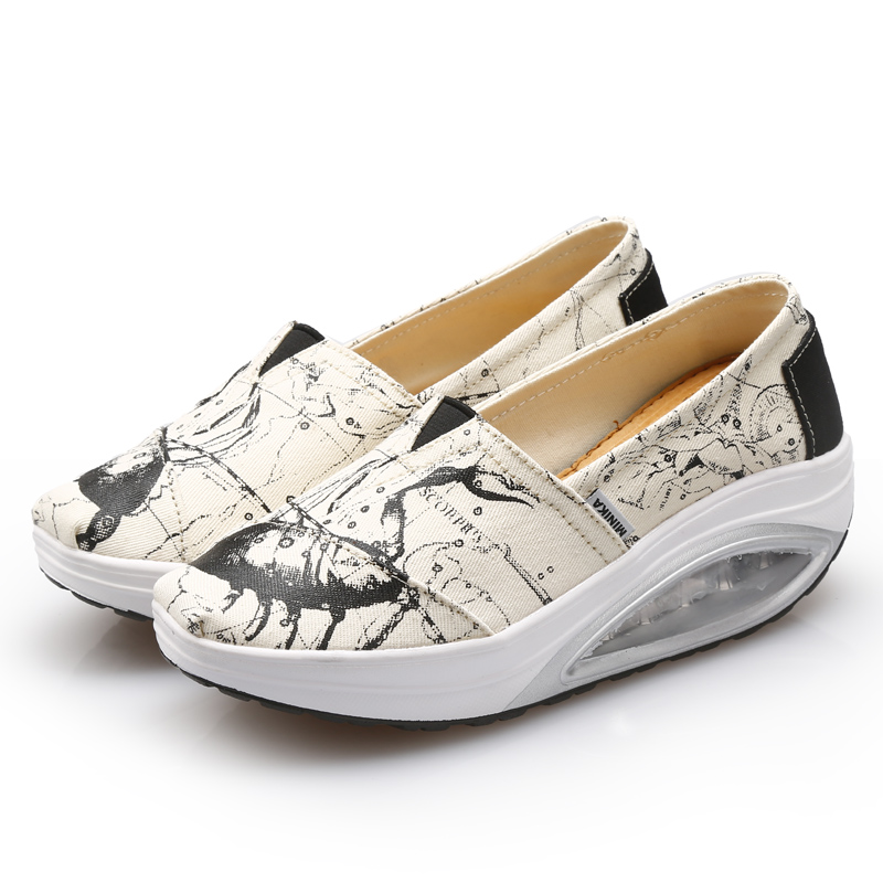 Women Slip On Canvas Cushion Sports Shoes Height ...