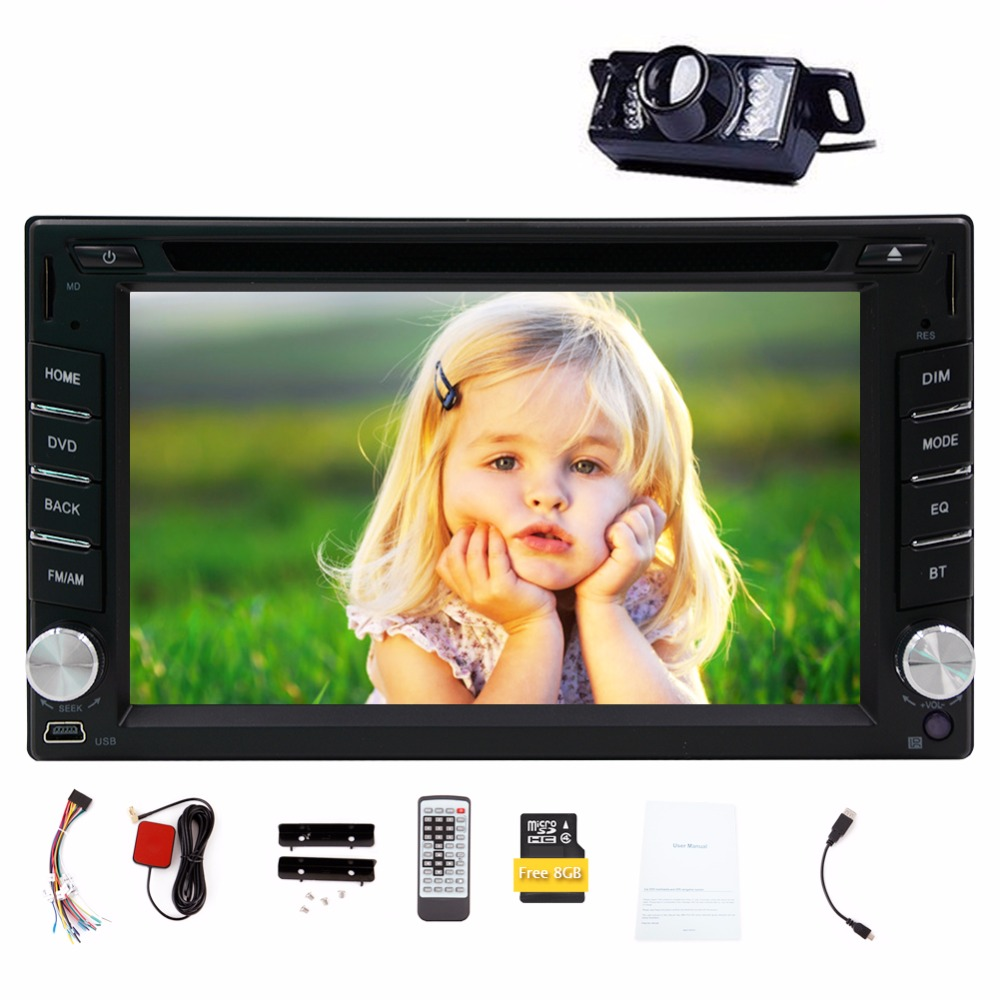 6.2'' Wince6.0 Free 8GB Map camera for 2din universal car dvd player Radio Stereo GPS Navigation Bluetooth stereo FM AM RDS Aux ultra thin 7 touch screen lcd wince 6 0 gps navigator w fm internal 4gb america map light blue