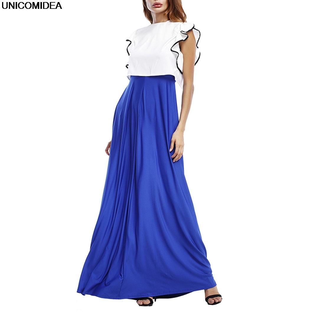 Long Summer Dress 2017 Ruffles Blue Red Black Dress Robe Longue Casual Boho Bohemian Evening Party Maxi Dress Vestidos