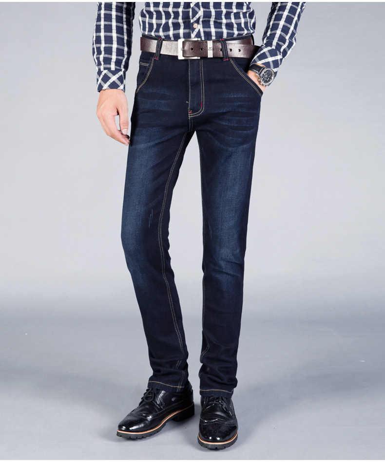 2018 Большие размеры 28-46, мужские джинсы, Стрейчевые прямые длинные облегающие брюки, модные повседневные Черные, синие джинсы, мужская деловая джинсовая одежда