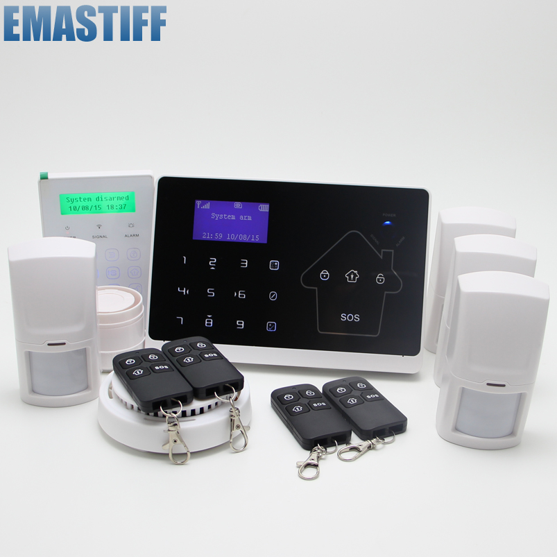 IOS Android APP LCD Smart Touch Keypad Wireless wired GSM PSTN Quad4 Band SMS Home Security Voice Burglar Alarm System Auto Dial android ios app sensor dual network gsm pstn 2g sim call lcd smart dislay touch keypad home burglar security alarm