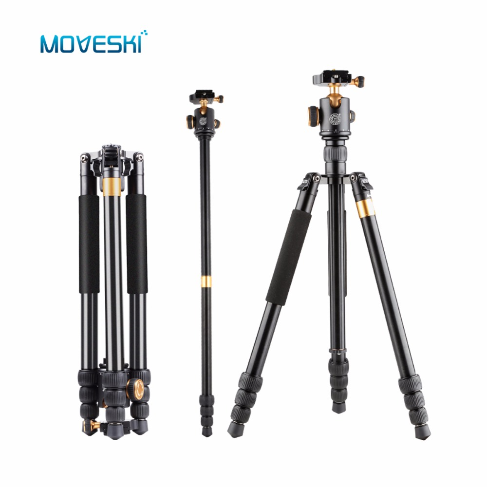 Moveski Q999B 163CM High Professional Portable Photography Tripod Monopod with 360 Pan Ball Head Quick for Camera moveski q580 57inch professional portable travel tripod monopod with ball head photography tripod stand for dslr camera load 6kg