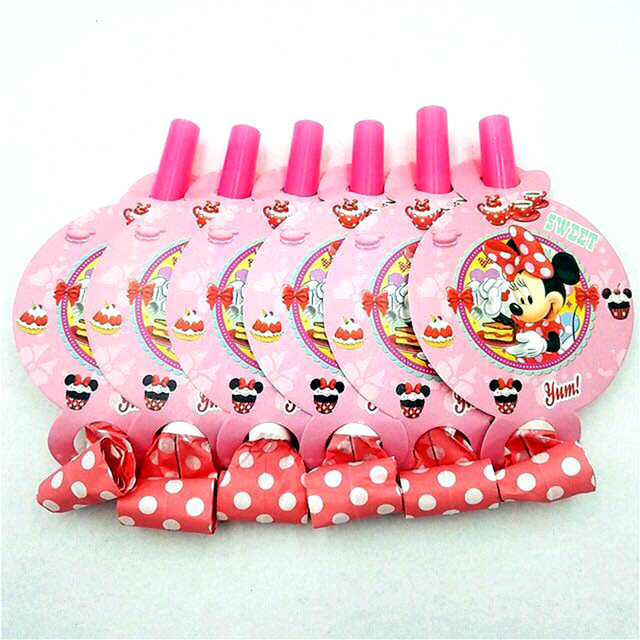 6pcs Minnie Mouse Blowouts Girls Happy Birthday Party Decorations