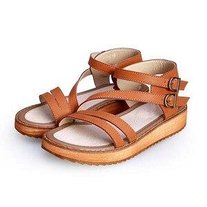 Image 4 - TIMETANG אישה סנדלי נעלי 2018 קיץ סגנון טריזי סנדלים שטוחים נשים אופנה רומא נעלי פלטפורמת עור אמיתי