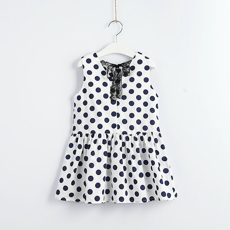 Girls Baby Dots Print Lace Bow Sleeveless Summer Dress Clothes Holiday Kids Casual New Ins Fashion Lovely Dress Clothing